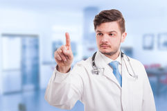 Doctor hand touching empty virtual screen Royalty Free Stock Photos