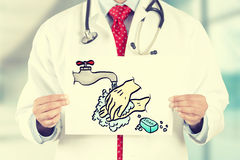 Doctor hands holding white card with wash your hands sign Stock Image