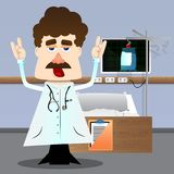Doctor with hands in rocker pose. vector illustration