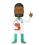 Doctor. A happy african-american doctor in glasses holding a notepad and showing finger up vector flat design illustration isolated on white background. Vertical Stock Image