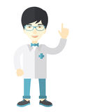Doctor. A happy asian doctor in glasses and medical gown showing finger up vector flat design illustration isolated on white background. Vertical layout Stock Image