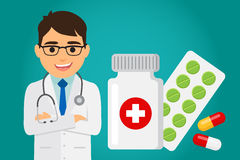 Doctor health care. Doctor occupation character health care with medications. Vector illustration Royalty Free Stock Photos