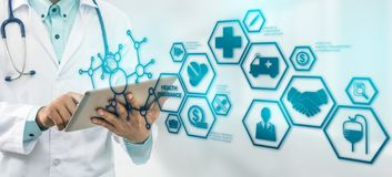 Doctor with Health Insurance Modern Interface Icon royalty free stock image