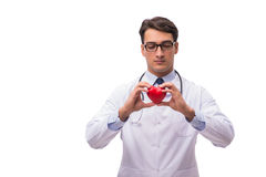 The doctor with heart isolated on white background Royalty Free Stock Photos