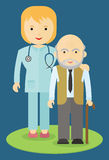 Doctor helping an elderly man. To walk. Caring for the elderly. The support and cooperation. Respect for old age stock illustration
