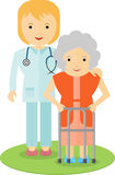 Doctor helping an elderly woman. To walk. Caring for the elderly. The support and cooperation. Respect for old age vector illustration