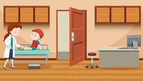 Doctor helping injured boy. Illustration stock illustration