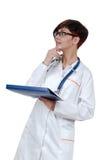 Doctor hermoso joven de la mujer con el phonendoscope Fotografía de archivo libre de regalías