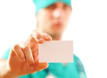 Doctor with his business card Stock Images