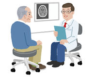 Patient and Doctor - Doctor and his senior patient at his office royalty free illustration