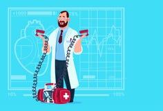 Doctor Hold Defibrillator Medical Clinics Worker Reanimation Hospital. Flat Vector Illustration Royalty Free Stock Images