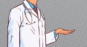 Doctor Hold Open Palm Hand To Copy Space Closeup Medical Male Prectitioner In White Coat Over Comic Retro Background. Vector Illustration Royalty Free Stock Photography