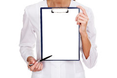 Doctor holding blank billboard Stock Photo