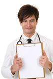 Doctor holding blank board Royalty Free Stock Photography