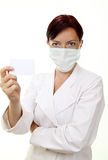 Doctor holding blank card Stock Image