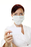 Doctor holding blank card Stock Photography