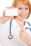 Doctor holding blank card Stock Photo