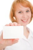 Doctor holding blank card Royalty Free Stock Photos