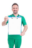 Doctor holding blank clipboard with text space Stock Photography