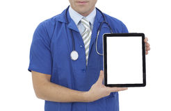 Doctor holding blank digital tablet with copy space and clipping path for the screen Stock Image