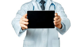 Doctor Holding Blank Digital Tablet With Copy Space And Clipping Path For Screen Royalty Free Stock Image