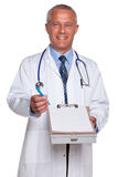 Doctor holding blank medical report Royalty Free Stock Photo