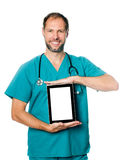 Doctor holding blank tablet Stock Photography