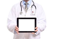 Doctor holding a blank tablet computer Royalty Free Stock Photography