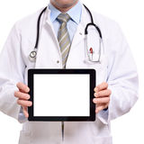 Doctor holding a blank tablet computer Stock Photography