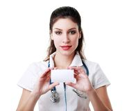 Doctor holding card Stock Photography