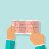 Doctor holding cardiogram in hand Royalty Free Stock Photography