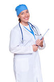 Doctor holding clip board Royalty Free Stock Images