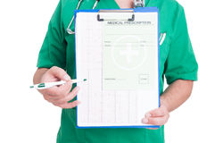 Doctor holding a clipboard with ekg and medical prescription Royalty Free Stock Photos