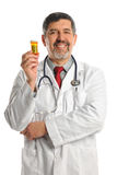 Doctor Holding Container with Prescription Pills Stock Images