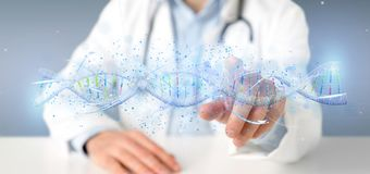 Doctor holding a 3d render DNA stock photo