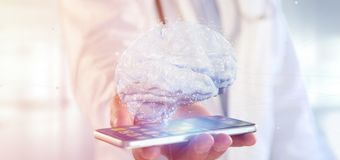 Doctor holding a 3d rendering artificial brain royalty free stock photography