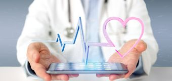 Doctor holding a 3d rendering medical heart curve stock image