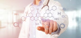 Doctor holding a 3d rendering molecule structure on a b royalty free stock image
