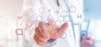 Doctor holding a 3d rendering molecule structure isolated on a b royalty free stock image