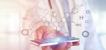 Doctor holding a 3d rendering molecule structure isolated on a background royalty free stock photos