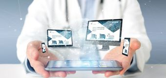 Doctor holding a Devices connected to a global business network. View of a Doctor holding a Devices connected to a global business network 3d rendering royalty free stock photography