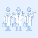 Doctor holding different objects Royalty Free Stock Photography