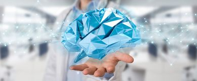 Doctor holding digital brain interface 3D rendering. Doctor on blurred background holding digital brain interface 3D rendering Stock Images