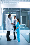 Doctor holding digital tablet having a discussion with colleagues Royalty Free Stock Photography