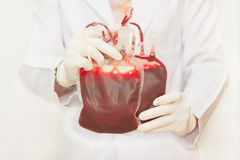 Doctor holding  fresh donor blood Royalty Free Stock Photo