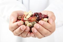 Doctor holding handful of Chinese herbal medicine.
