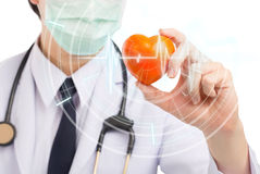 Doctor holding heart with graphic pulse isolated white backgroun Royalty Free Stock Photography