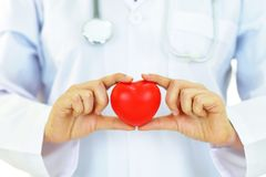 Heart care. Doctor holding heart in hands, heart care concept Stock Photos
