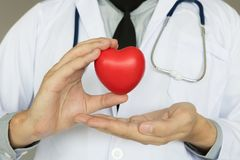 Doctor holding heart with medical healthcare concept. Doctor holding heart with medical healthcare concept stock image