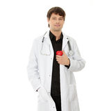 Doctor holding heart shape toy Royalty Free Stock Photography